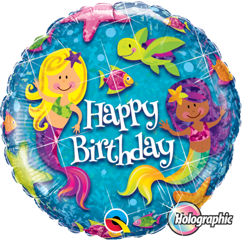45cm Round Foil Holographic Birthday Mermaids #18415 - Each (Pkgd.)
