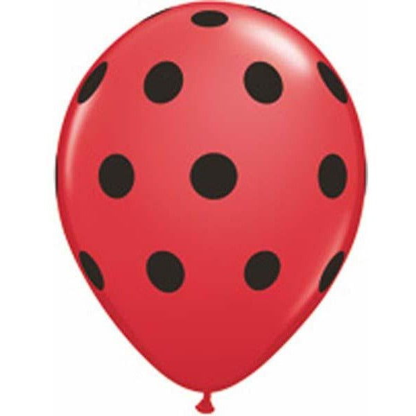 12cm Round Red Big Polka Dots (Black) #26153 - Pack of 100