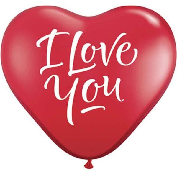 15cm Heart Ruby Red I Love You Script Modern #29075 - Pack of 100 SPECIAL ORDER ITEM