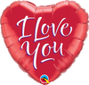 22cm Heart I Love You Script Modern #29131 - Each (Inflated, supplied air-filled on stick)