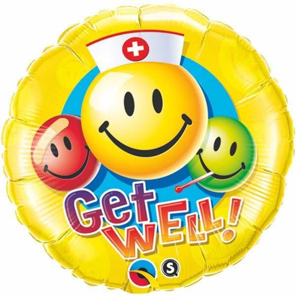 45cm Round Foil Get Well Smiley Faces #29624 - Each (Pkgd.)