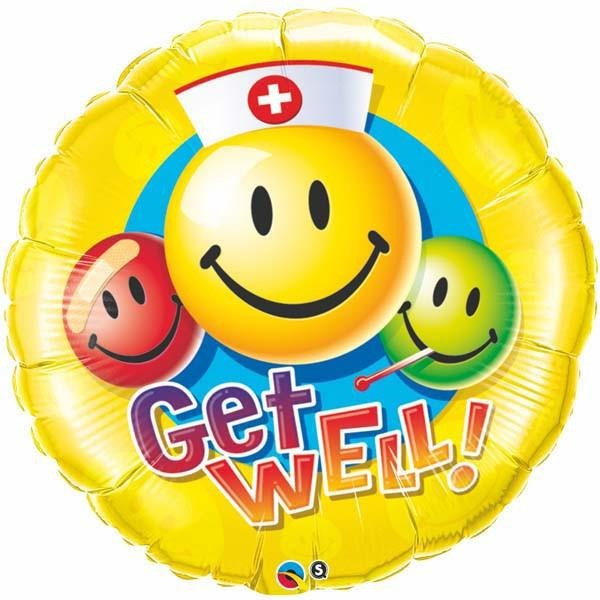 90cm Round Foil Get Well Smiley Faces #29855 - Each (Pkgd.)