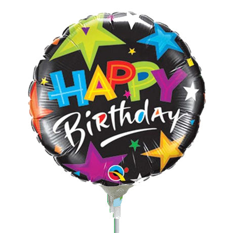 22cm Round Birthday Brilliant Stars Black #30654 - Each (Inflated, supplied air-filled on stick)