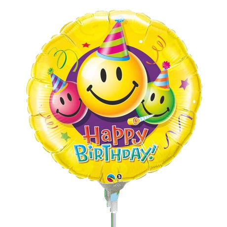 22cm Round Foil Birthday Smiley Faces #31125 - Each (Inflated, supplied air-filled on stick)