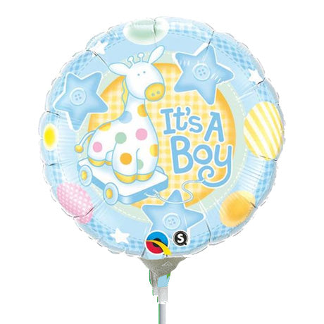 22cm Round It's A Boy Soft Giraffe #32947 - Each (Inflated, supplied air-filled on stick)