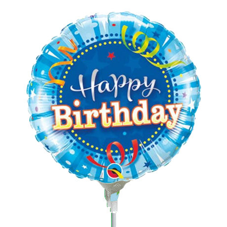 22cm Round Birthday Bright Blue #32955 - Each (Inflated, supplied air-filled on stick)