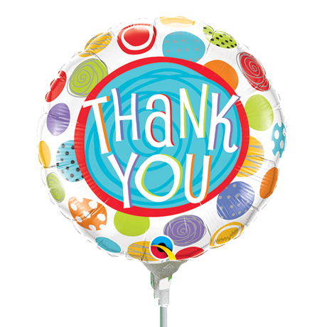 22cm Round Thank You Patterned Dots #33318 - Each (Inflated, supplied air-filled on stick)