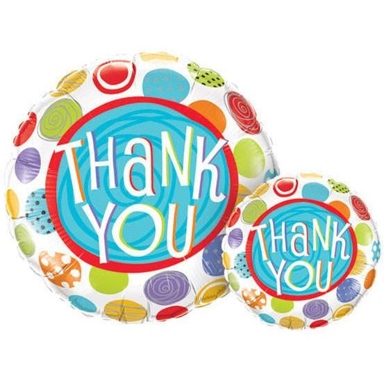 45cm Round Foil Thank You Patterned Dots #33354 - Each (Pkgd.)