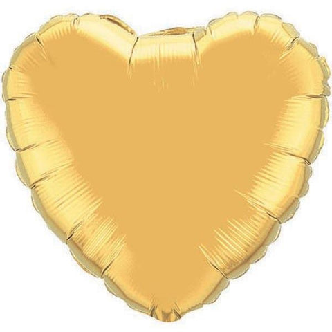 45cm Heart Foil Metallic Gold Plain #35432 - Each (Unpkgd.)
