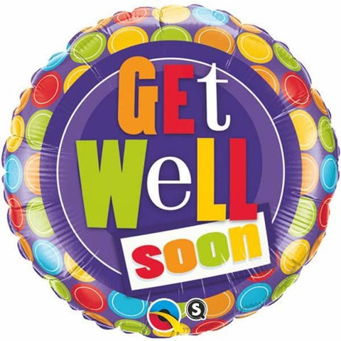 45cm Round Foil Get Well Dot Patterns #36402 - Each (Pkgd.)
