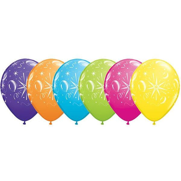 28cm Round Tropical Assorted Sparkle Balloons #39088 - Pack of 50 SPECIAL ORDER ITEM