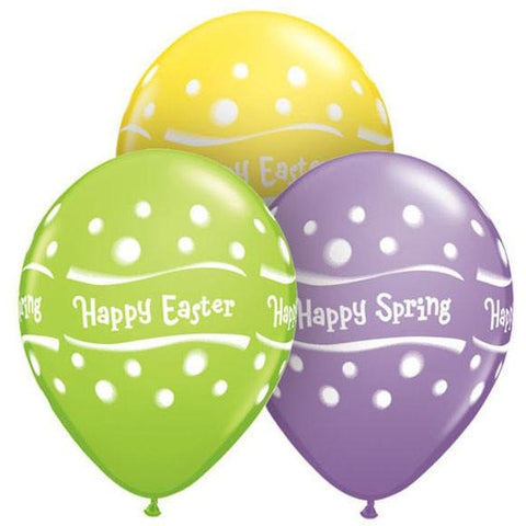 28cm Round Special Assorted Happy Spring Easter Assorted Dots #41417 - Pack of 50 SPECIAL ORDER ITEM