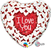 22cm Heart Foil Holographic I Love You Glitter Hearts #41933 - Each (Inflated, supplied air-filled on stick)