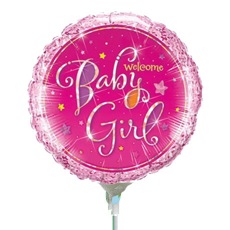 22cm Round Foil Holographic Welcome Baby Girl Stars #41937 - Each (Inflated, supplied air-filled on stick)