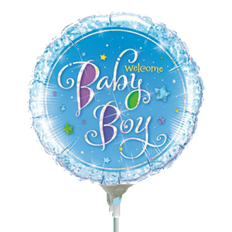 22cm Round Foil Holographic Welcome Baby Boy Stars #41941 - Each (Inflated, supplied air-filled on stick)