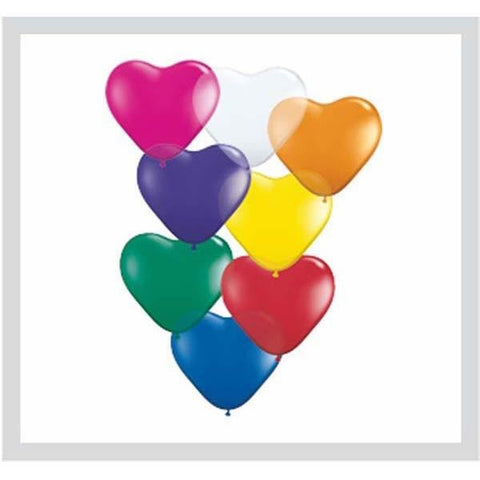 15cm Heart Jewel Assorted Qualatex Plain Latex #43638 - Pack of 100