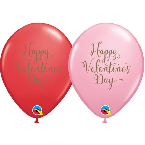 28cm Round Assorted Red & Pink Happy Valentine's Day Script #46062 - Pack of 50 SPECIAL ORDER ITEM