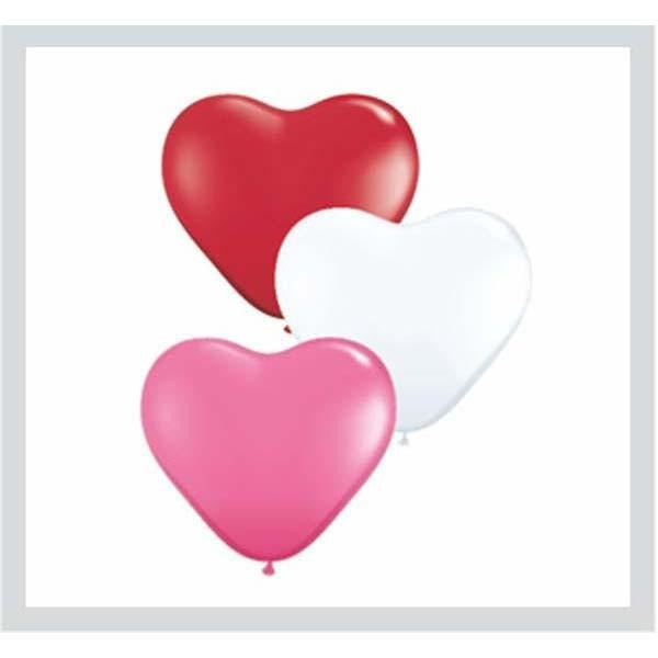 15cm Heart Love Assorted Qualatex Plain Latex #47949 - Pack of 100