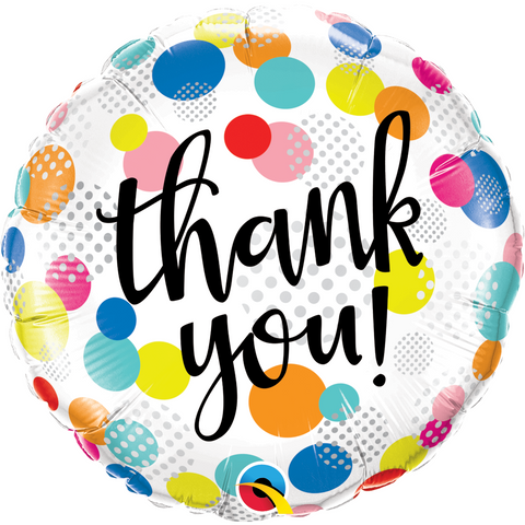 45cm Round Foil Thank You Dots Upon Dots #49214 - Each (Pkgd.)