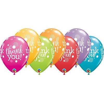 28cm Round Festive Assorted Thank You Dots Upon Dots #49687 - Pack of 50