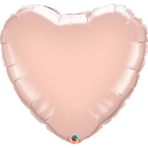 22cm Heart Foil Rose Gold Plain Foil #57043 - Each (Unpackaged, Requires air inflation, heat sealing)