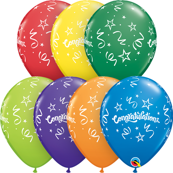 28cm Round Carnival Assorted Congratulations Streamers #57111 - Pack of 50