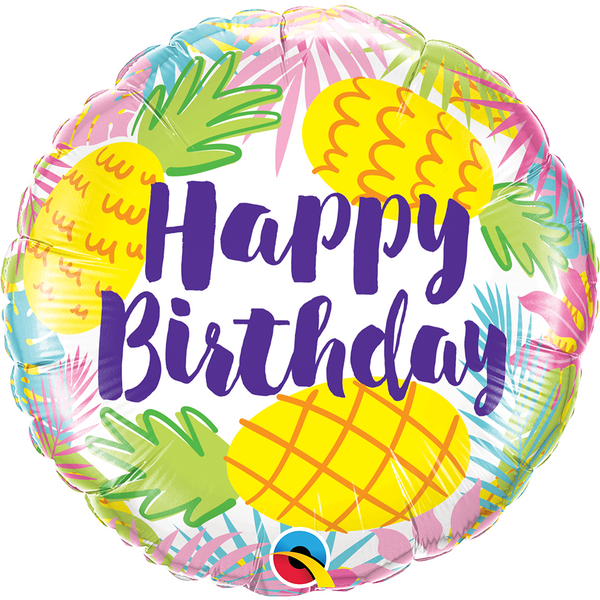 45cm Round Foil Birthday Pineapples #57268 - Each (Pkgd.)