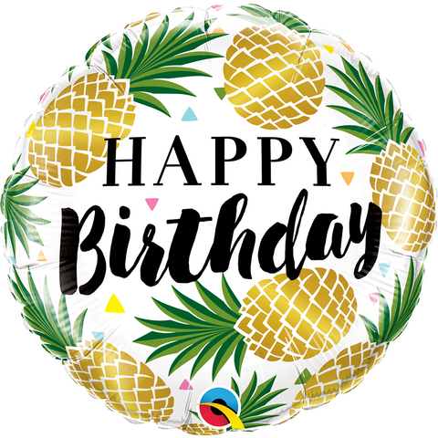 45cm Round Foil Birthday Golden Pineapple #57277 - Each (Pkgd.)