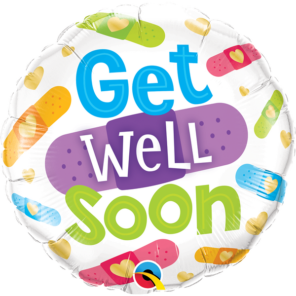 45cm Round Foil Get Well Soon Bandages #57304 - Each (Pkgd.)