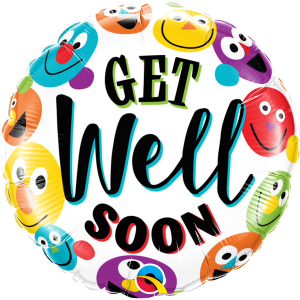45cm Round Foil Get Well Soon Smileys #57307 - Each (Pkgd.)