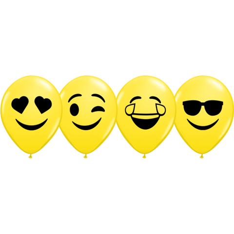 12cm Round Yellow Smiley Faces Assortment (Black) #57961 - Pack of 100