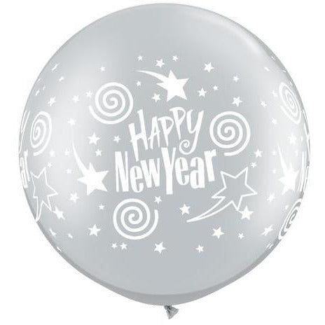 90cm Round Silver New Year's Swirling Stars Wrap #60289 - Pack of 2 COMING SOON