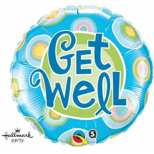 45cm Round Foil Get Well Blue Dots #60995 - Each (Pkgd.)