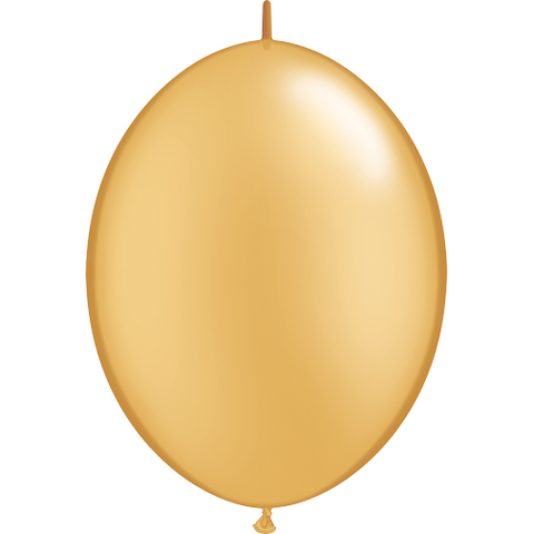 30cm Quick Link Gold Qualatex Quick Link Balloons #65245 - Pack of 50