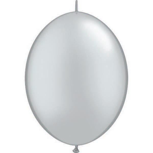 15cm Quick Link Silver Qualatex Quick Link Balloons #90266 - Pack of 50 SPECIAL ORDER ITEM