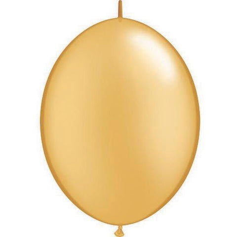 15cm Quick Link Gold Qualatex Quick Link Balloons #90267 - Pack of 50 SPECIAL ORDER ITEM