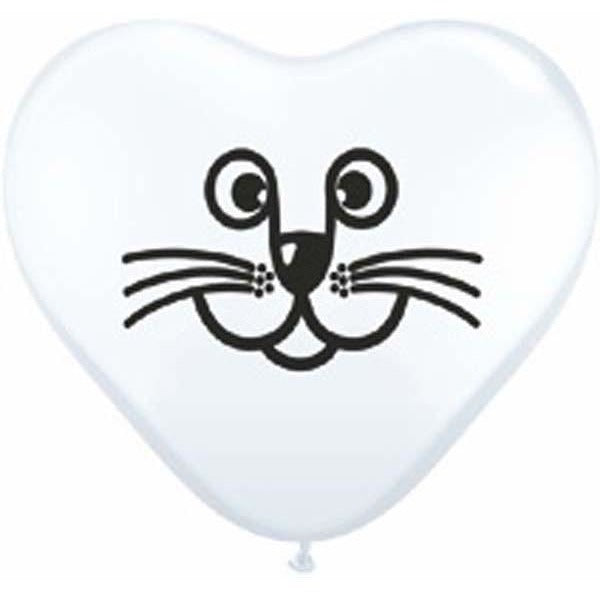 15cm Heart White Cat Face #97337 - Pack of 100 SPECIAL ORDER ITEM