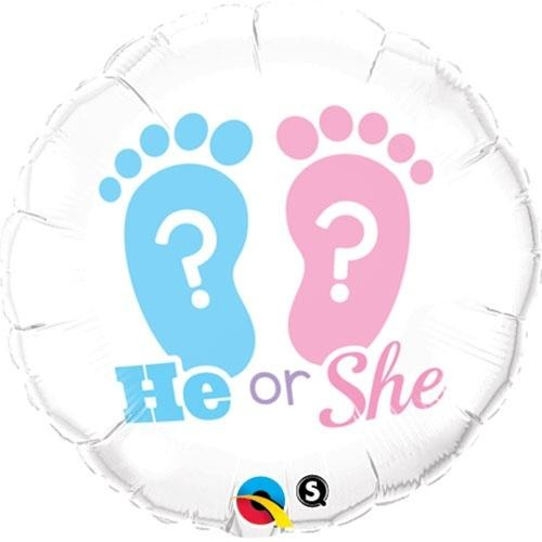 45cm Round Foil He Or She? Footprints #17079 - Each (Pkgd.)