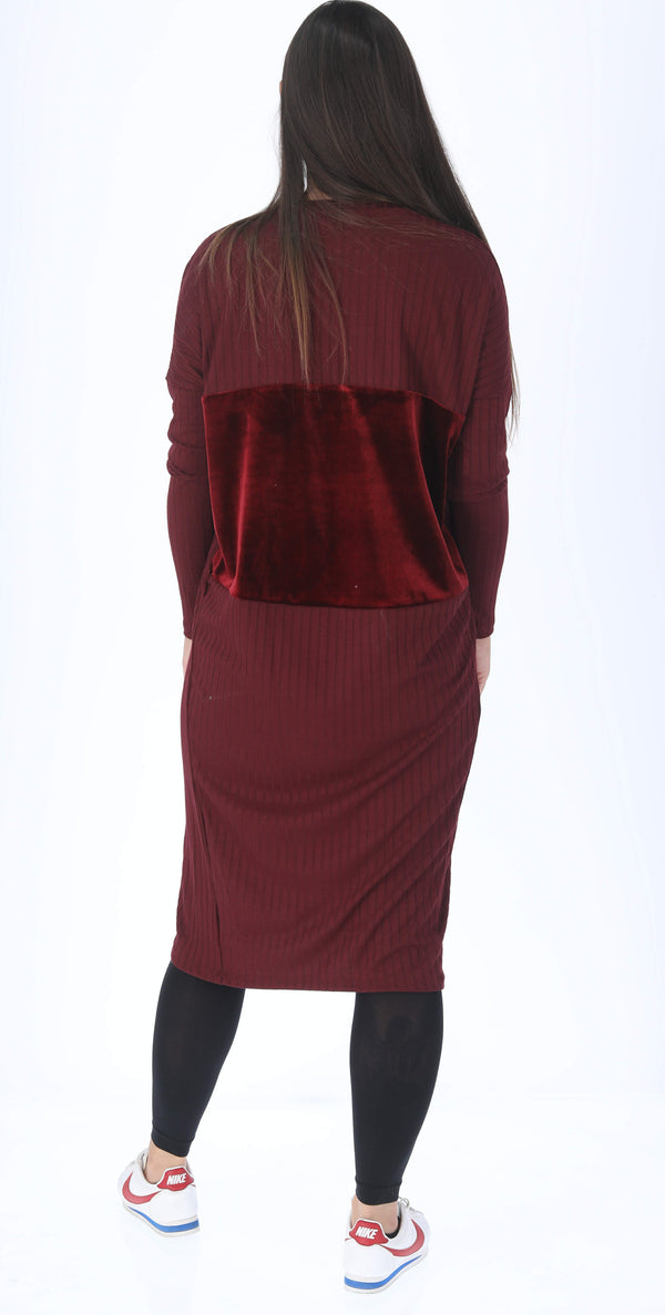 Velvet Ribbed Square Dress