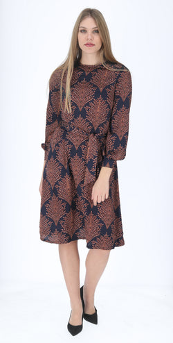 A-line Elegant Dress with belt / Navy Leafs