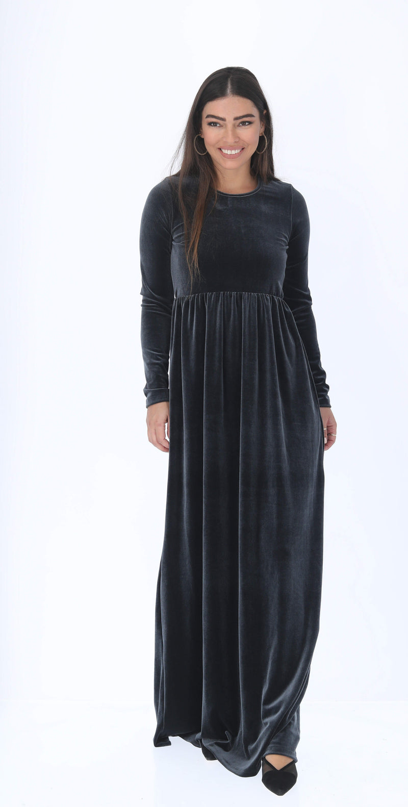 Belted Maxi Velvet Dress (more colors available)