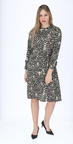 A-line Elegant Dress with belt / Black & Beige