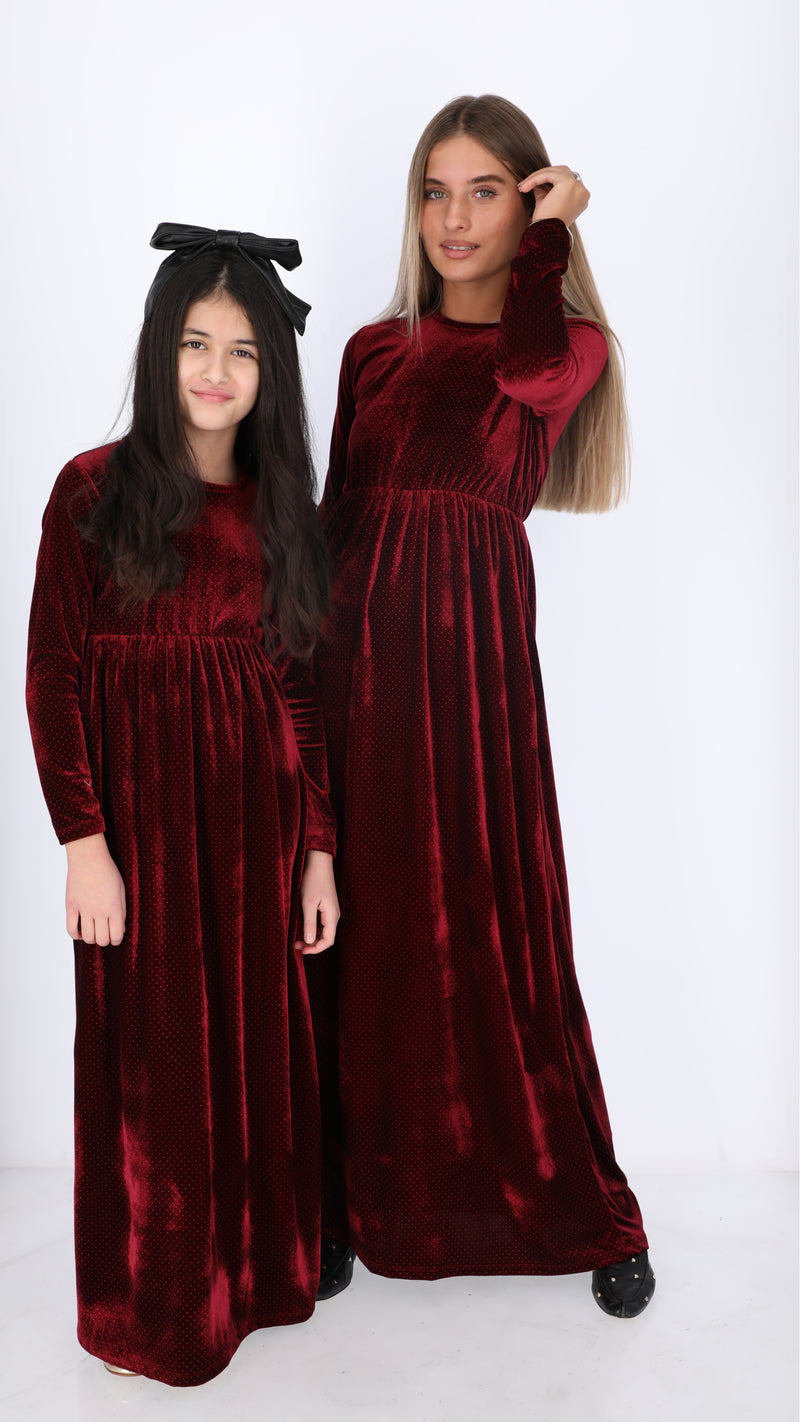 Kids Maxi Velvet Dress / Points
