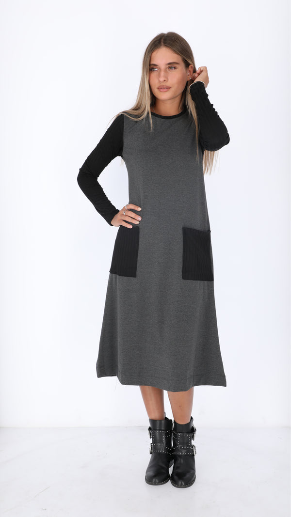 A-line Ribbed Pocket Dress