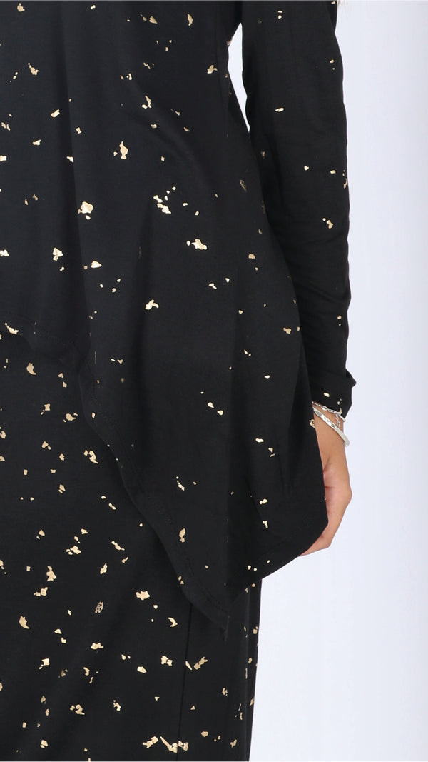 Asymmetric T-shirt / Black & Gold Splash
