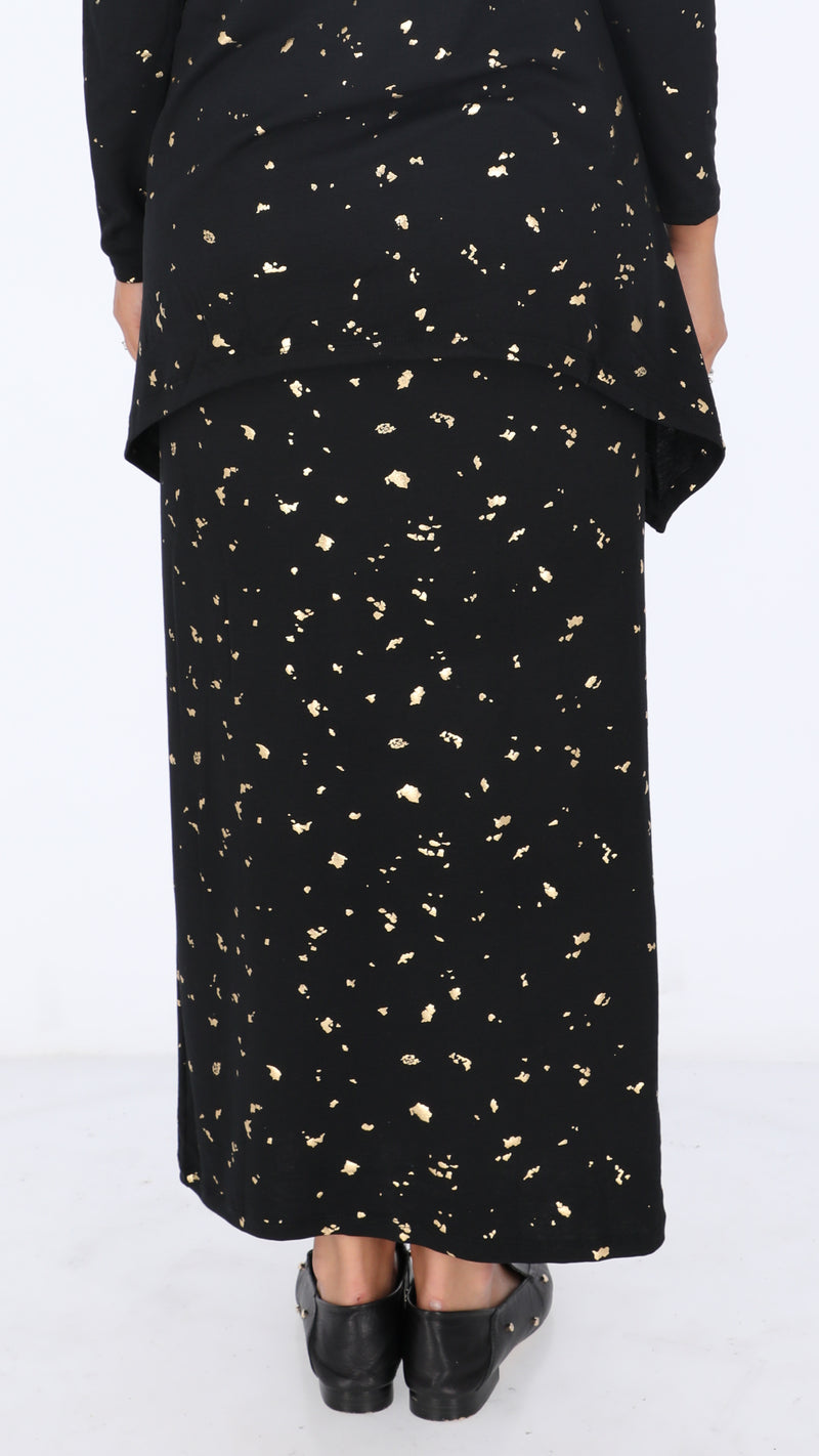 Maxi Skirt / Black & Gold Splash