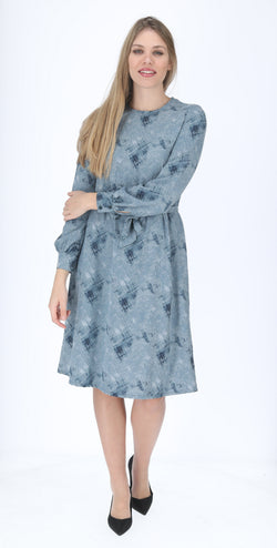 A-line Elegant Dress with belt / Denim Blue