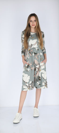 Waisted Cotton Dress / Grey Leafs