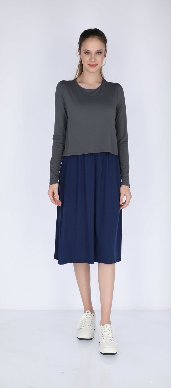 Solid Nursing Dress / Grey & Navy