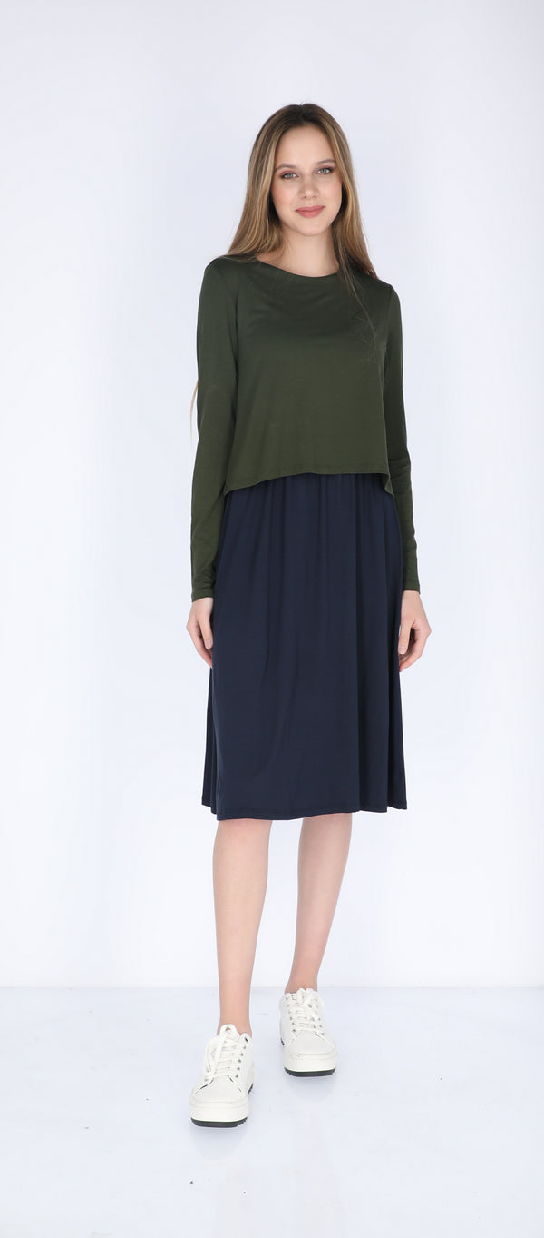Solid Nursing Dress / Olive & Navy